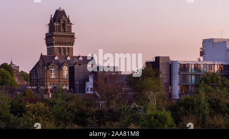 London, England, UK - September 17, 2019: The tower of St Charles Hospital stands in the North Kensington neighbourhood of London. - Stock Photo