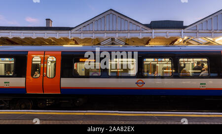 London, England, UK - September 14, 2019: A new Class 710 Aventra commuter train calls at Harrow & Wealdstone Station on the London Overground Watford - Stock Photo