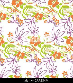 Cute colored vector flowers. Seamless floral pattern on white background.