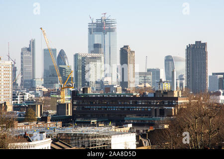 London, England, UK - February 27, 2019: The 22 Bishopsgate skyscrape approaches full height in the fast evolving skyline of the City of London financ - Stock Photo