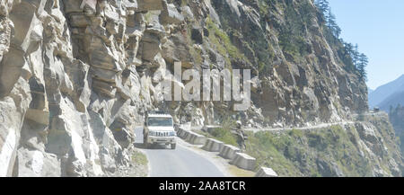 Spiral S-shape zigzag pattern hairpin curve winding Two Lane Highway Mountain road. Upside Down, Convex, Concave. Letterbox Format rectangular Panoram - Stock Photo