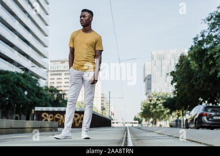 Portrait of a boy in the city of Barcelona - Stock Photo