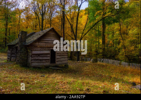 Roaring Fork Motor Trail located in the Smoky Mountains is five miles long single lane road.  Cabins, Creeks, and vast landscapes filled with autumn - Stock Photo
