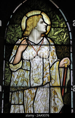 Stained Glass Window Depicting the Cardinal Virtue 'Hope' - Stock Photo