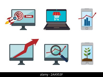 bundle of smartphone with laptop and set icons - Stock Photo