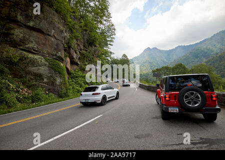 parking in layby on parkway us 441 highway route through great smoky mountains national park with view of chimney tops usa - Stock Photo