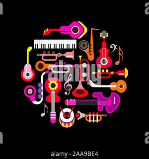 Colorful flat icons isolated on a black background Musical Instruments round shape vector design.