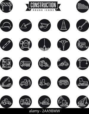 Industrial construction machinery and tools round icon vector collection with line art symbols - Stock Photo