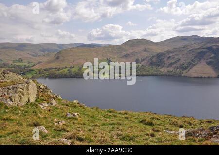 Ullswater from Gowbarrow Fell, Cumbria - Stock Photo