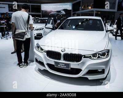Nonthaburi, THAILAND, March 2018 : BMW 320d m sport on display in Bangkok International Motor Show 2018 at Impact Arena exhibition Muangthong Thani in - Stock Photo