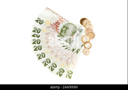 Turkey currency - Turkish Lira bank notes and coins on white background - Stock Photo