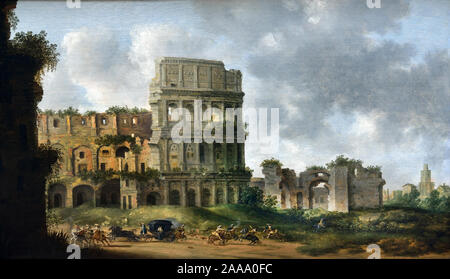 The Coliseum in Rome with a raid on a carriage 1631 Pieter Saenredaem 1597-1665, The Netherlands, Dutch, - Stock Photo