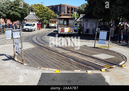 SFMTA Cable Car Turntable Station at Hyde and Beach Streets - Stock Photo