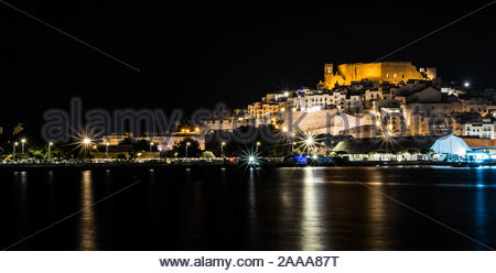 Peniscola a Night View. - Stock Photo