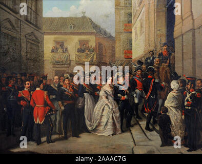 Isabella II (1830-1904). Spanish Queen. Queen Isabella II and her husband visiting the Maundy Thursday Monument at the Church of Santa Maria, 1855 (Madrid, Spain). Painting by Ramon Soldevila y Trepat (1828-1873). History Museum. Madrid. Spain. - Stock Photo