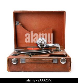 old gramophone and vinyl record isolated on white background - Stock Photo
