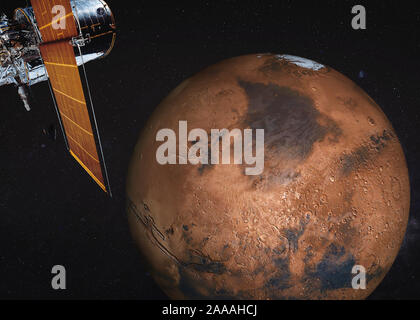 Satellite telescope near Mars planet of solar system somewhere in space. Science fiction. Elements of the image were furnished by NASA