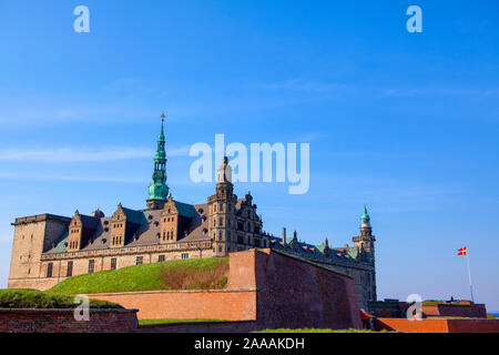 Kronborg castle and stronghold in the town of Helsingor, Denmark - Stock Photo