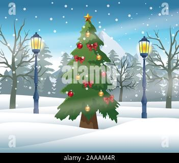merry christmas card with pine tree in snowscape - Stock Photo