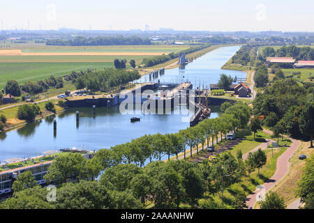 Panoramic view over the locks and the Canal through Walcheren to Middelburg in Veere (Zeeland), Netherlands - Stock Photo