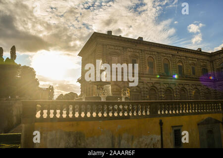 Backlight view of the Boboli Gardens of Palazzo Pitti in the historic centre of Florence, Unesco Site, with the Artichoke Fountain, Tuscany, Italy