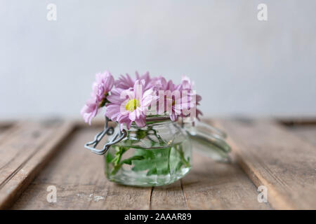 Pink asters in a small glass vase on a wooden shabby rustic cabinet in front of a white wall - Stock Photo