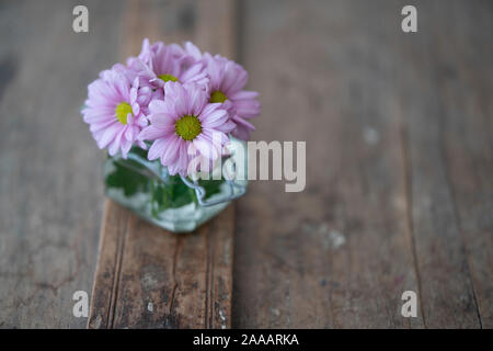Pink asters in a small glass vase from above on a rustic shabby wooden furniture