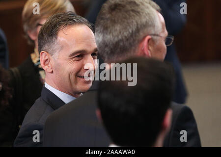 Brussels, Belgium. 20th Nov, 2019. German Foreign Minister Heiko Maas attends the meeting of the North Atlantic Council at the level of foreign ministers at the NATO headquarters in Brussels, Belgium, on Nov. 20, 2019. Foreign ministers of the North Atlantic Treaty Organization (NATO) agreed to include space as its new operational domain alongside air, land, sea and cyber, NATO Secretary General Jens Stoltenberg said Wednesday. Credit: Zheng Huansong/Xinhua/Alamy Live News - Stock Photo