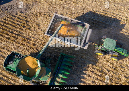 Ragan, Nebraska - Corn harvest. - Stock Photo