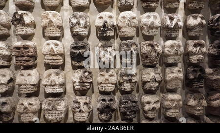 Excavated Tzompantli, other wise known as ancient Aztec skull rack or skull banner from MesoAmerican sacrifices at Templo Mayor, Mexico City. - Stock Photo