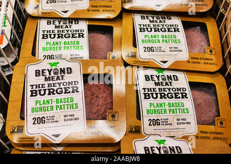 Beyond Meat brand plant-based Beyond Burger packages available for vegan customers in the meat section of Safeway grocery store - Cupertino, California, USA - June 20, 2019 - Stock Photo