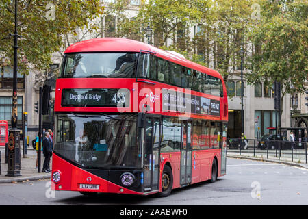 London, England –October 11, 2019:  Double deck routemaster bus, line 453 in central London - Stock Photo