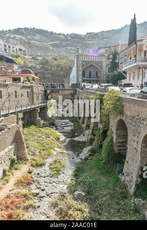 Around Sulfur baths area, colorful building and bridges in the Old Town of Tbilisi,October 21, 2019, Republic of Georgia. - Stock Photo