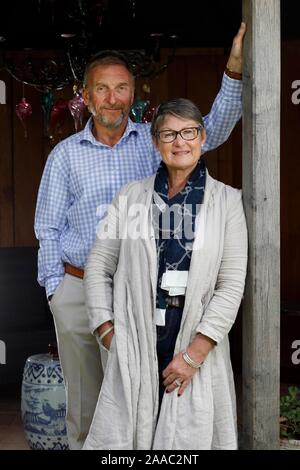 Lady Delia Thornton, with her husband Air Marshal(Retired) Sir Barry in a summerhouse in the garden of their home near Cirencester. - Stock Photo
