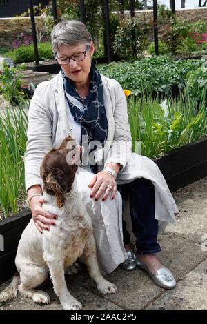 Lady Delia Thornton in her vegetable garden. - Stock Photo