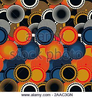retro style seamless pattern geometric circles in gold black blue shades - Stock Photo