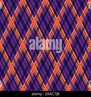 Rhombic seamless vector pattern as a tartan plaid in mainly violet hues with orange and black lines - Stock Photo
