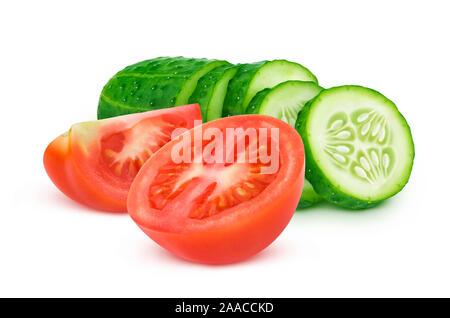 Fresh tomato and sliced cucumber isolated on white background