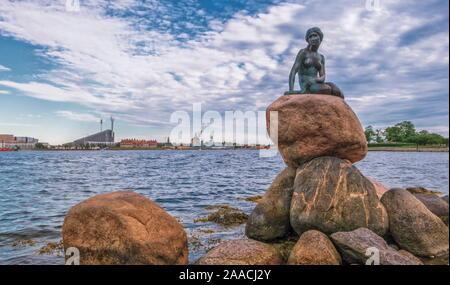 Copenhagen, Denmark, June 14, 2019: Bronze statue of the Little Mermaid, Den lille Havfrue