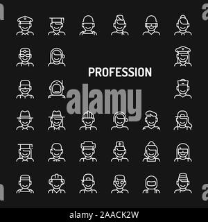 Simple white line icons isolated over black background related to professions, occupations & employments. Vector signs and symbols collections for web - Stock Photo