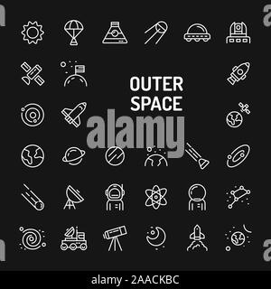 Simple white line icons isolated over black background related to planets, galaxy, solar system and space vehicles. Vector signs and symbols collectio - Stock Photo