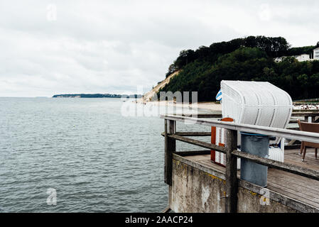 Famous Sellin Seebruecke, Sellin Pier, a cloudy day of summer, Ostseebad Sellin tourist resort, Baltic Sea region, Germany - Stock Photo