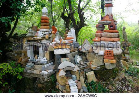 europe, italy, casole d'elsa, la selva di sogno, sculpture of deva manfredo - Stock Photo