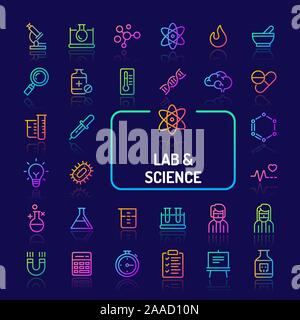 Simple gradient color icons isolated over dark background related to science research, Laboratory experiments and equipments. Vector signs and symbols - Stock Photo
