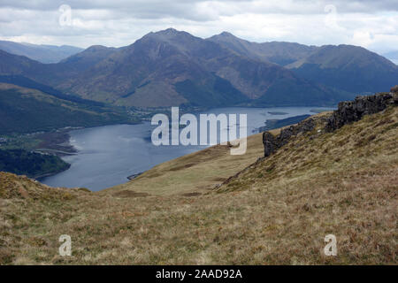 The Munros on Scottish Mountain Range of Beinn a' Bheithir & Loch Leven from the Hill Path from Callert House, Scottish Highlands, Scotland, UK. - Stock Photo