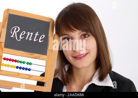 Frau mit Schultafel - Stock Photo