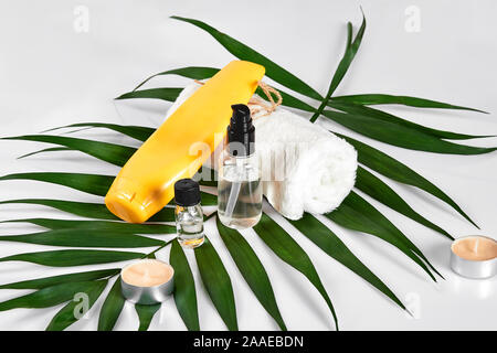 Natural cosmetics for home spa. Top view bottles of cream, shampoo, mask with essential oil, green leaf decor, white background - Stock Photo