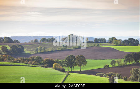 landscape with fields and meadows in dutch province of south limburg Stock Photo