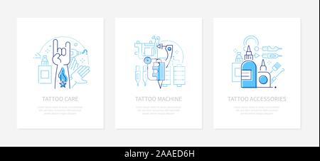 Tattoo studio - vector line design style banners set - Stock Photo