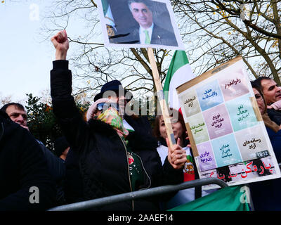London, UK. 20th November, 2019. Iranians from London protest outside the Iranian embassy against the alleged abuses by the government of Iran, demanding democracy and freedom for the Kurdish population. Credit: Joe Kuis / Alamy News - Stock Photo